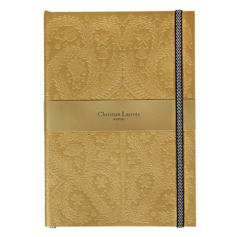 Christian Lacroix Paseo Embossed Gold Notebook - A5, Christian Lacroix - RSVP Style