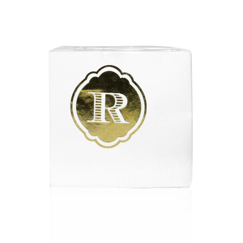Metallic Foil Initialed Napkins, vendor-unknown - RSVP Style