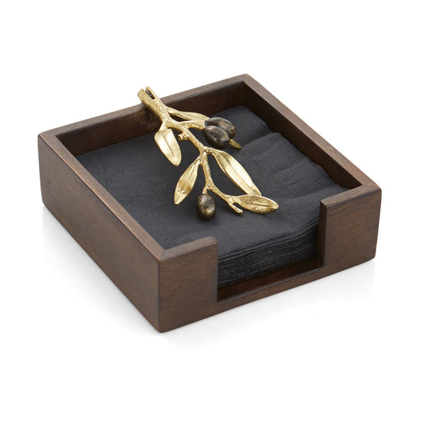 Olive Branch Gold Cocktail Napkin Box