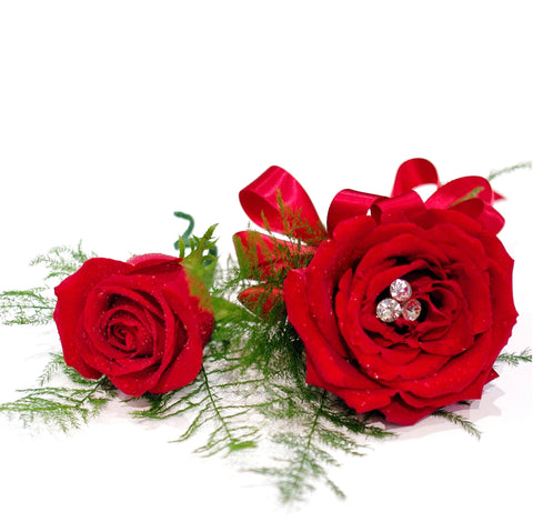 Single Open Rose Corsage & Single Rose Boutonniere