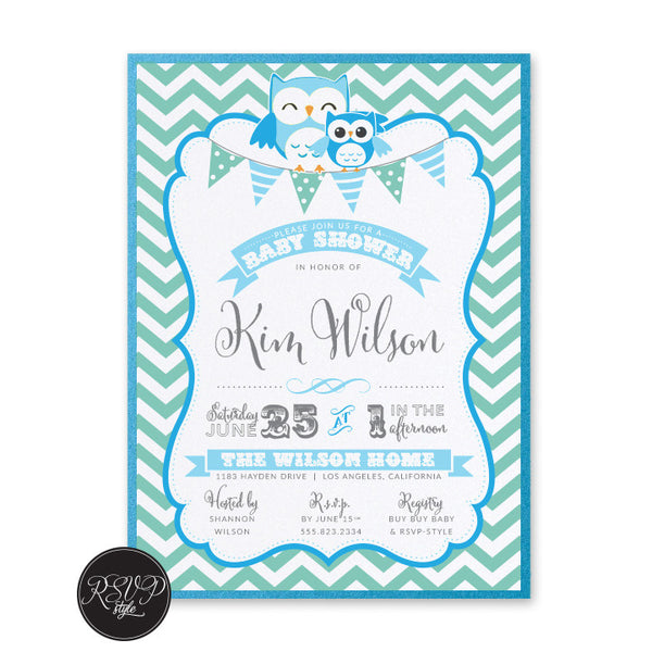 Little Owl Baby Shower Invitation