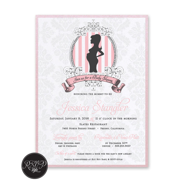 Parisian Demask Baby Shower Invitation - RSVP Style