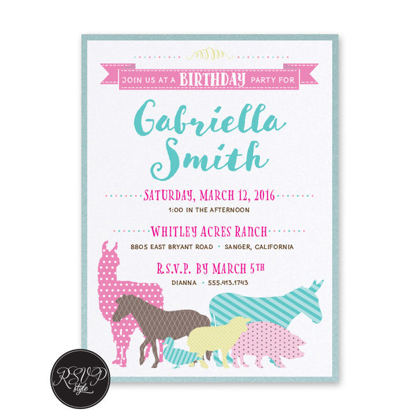 Petting Zoo Birthday Invitation