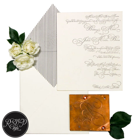 Pinstriped Letterpress Wedding Invitation Suite - RSVP Style