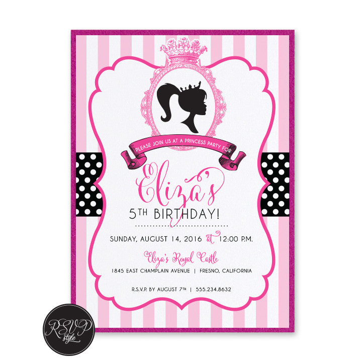 custom polkadot princess birthday invitation rsvp style