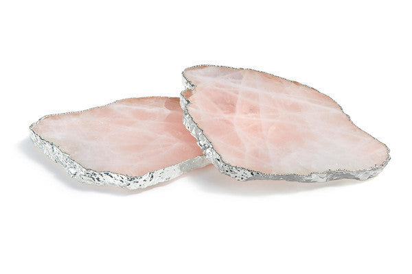 Rose Quartz & Silver Wine Coasters  |  Set of 2