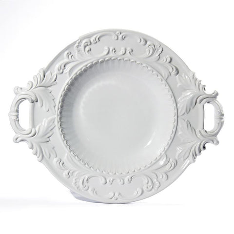 Baroque White Serving Bowl with Handles