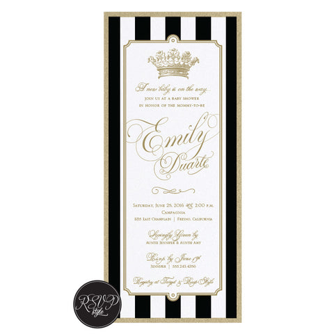 Royal Striped Baby Shower Invitation