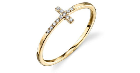 Gold & Pave Diamond Bent Cross Ring