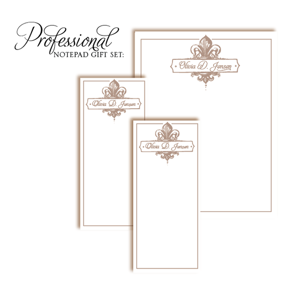 Customized Notepad Gift Set Gold Corners - RSVP Style