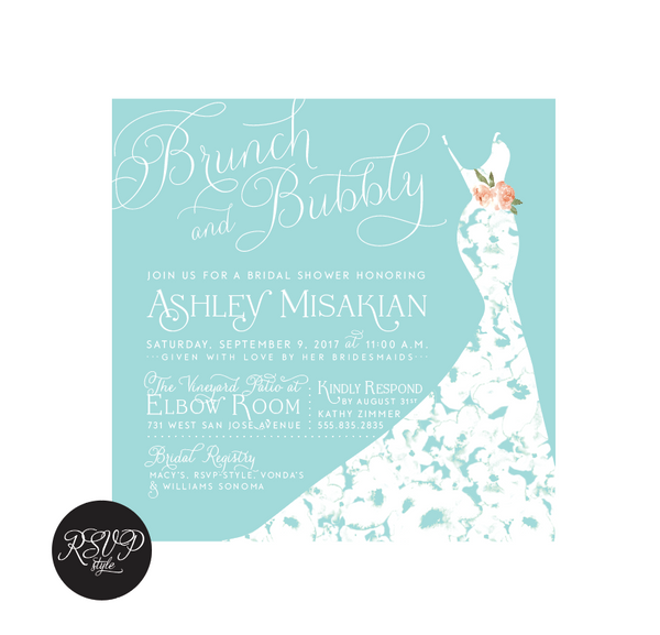 Brunch & Bubbly Gown Bridal Shower Invitation - RSVP Style