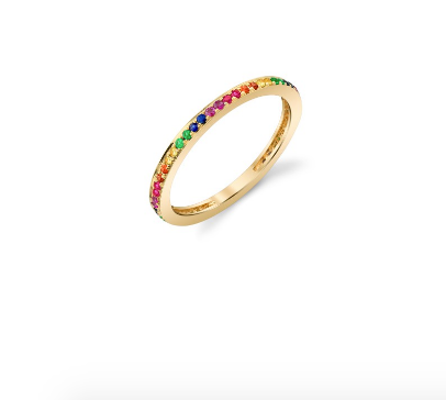 Gold Rainbow Pave Eternity Ring