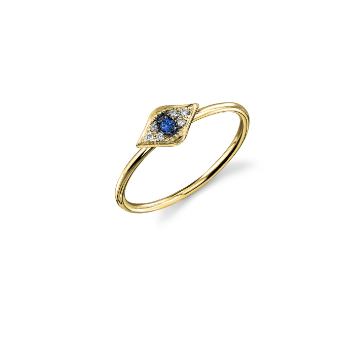Gold & Diamond Baby Evil Eye Ring With Blue Saphire Center