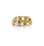 Yellow-Gold & Diamond Pave Chain Link Ring