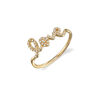 Gold & Pave Diamond Love Ring