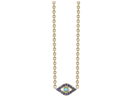 Yellow-Gold Sapphire & Turquoise Extra Large Bezel Evil Eye Necklace