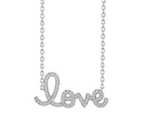 Extra Large Gold & Diamond Script Love Necklace