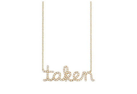 Large Gold & Pave Diamond Taken Necklace
