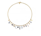 Gold & Diamond Multi Charm Necklace - RSVP Style