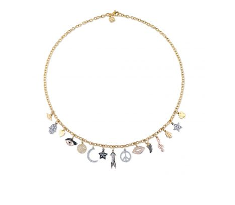 Gold & Diamond Multi Charm Necklace
