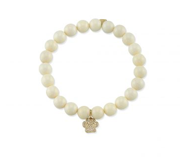 Yellow-Gold & Diamond Paw Print on Polished Bone Bracelet