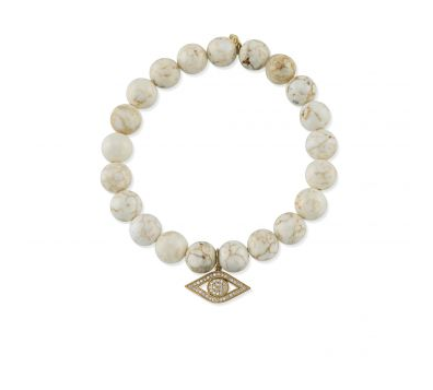 Yellow-Gold & Diamond Evil Eye on Beige Howlite Bracelet