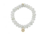 Yellow-Gold & Diamond Disc Charm on Moonstone Bracelet