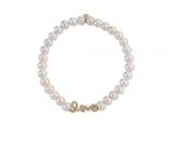 Mini Yellow-Gold & Diamond Love Bead on Freshwater Pearl Bracelet