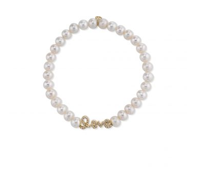 Mini Yellow-Gold & Diamond Love Bead on Freshwater Pearl Bracelet - RSVP Style