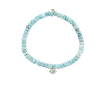 Mini Yellow-Gold & Diamond Bezel Evil Eye on Larimar Bracelet
