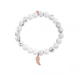 Rose-Gold & Diamond Mini Wing Charm on Howlite Bracelet