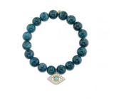 Yellow-Gold Diamond & Turquoise Extra Large Bezel Evil Eye on Apatite Bracelet