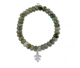 White-Gold & Diamond Fleur De Lys Charm on Labradorite Bracelet