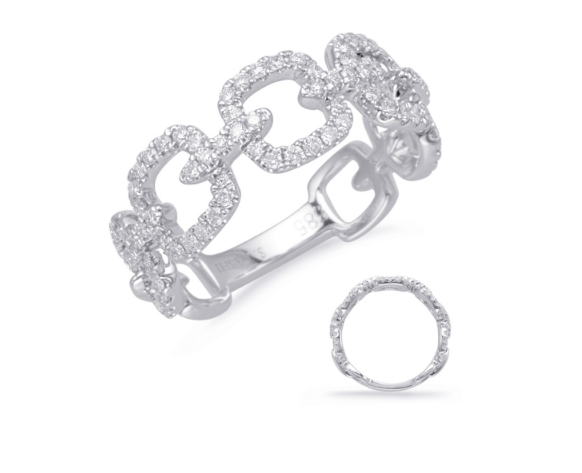 White Gold & Diamond Chain Link Ring
