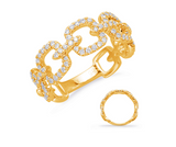Yellow Gold & Diamond Chain Link Ring