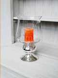 Glass Hurricane with Silver Pedestal - RSVP Style