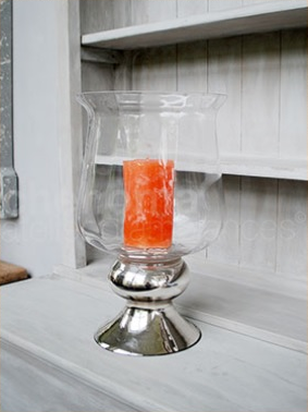 Glass Hurricane with Silver Pedestal  |  Large