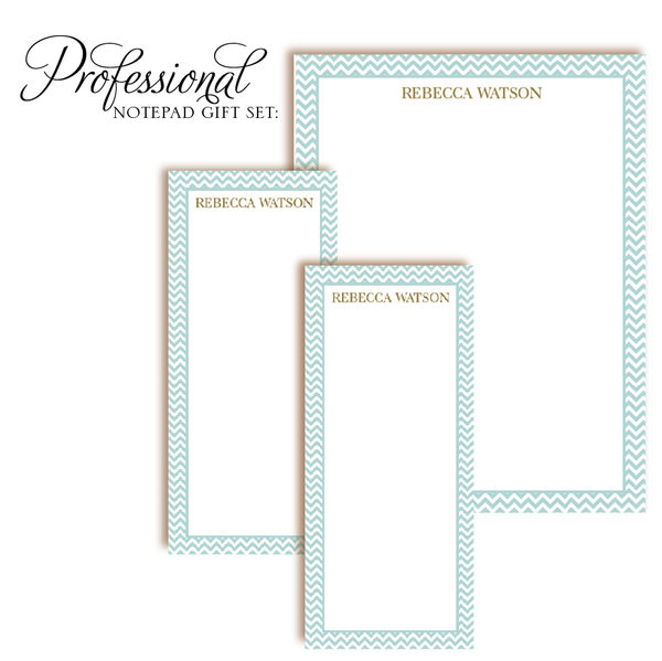 Customized Notepad Gift Set | Chevron