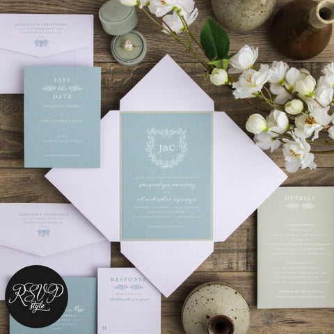 Shield of Dreams Rustic Wedding Invitation Suite