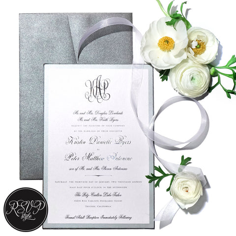 Sumptuous Silver Monogram Wedding Invitation Suite
