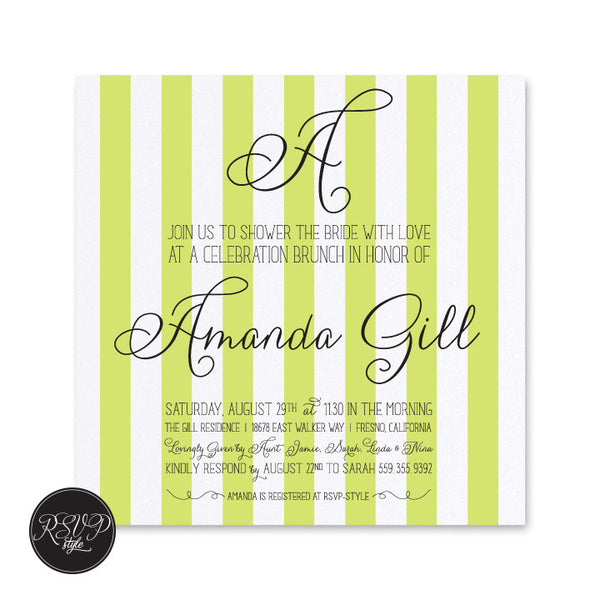 Striped Initial Bridal Shower Invitation