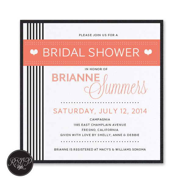 Love Stripes Bridal Shower Invitation - RSVP Style