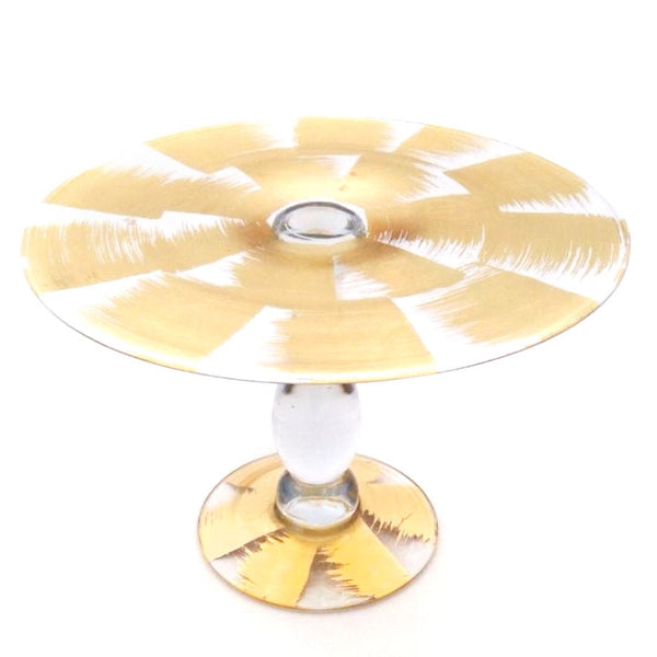 Gold Slash Glass Footed Cake Plate
