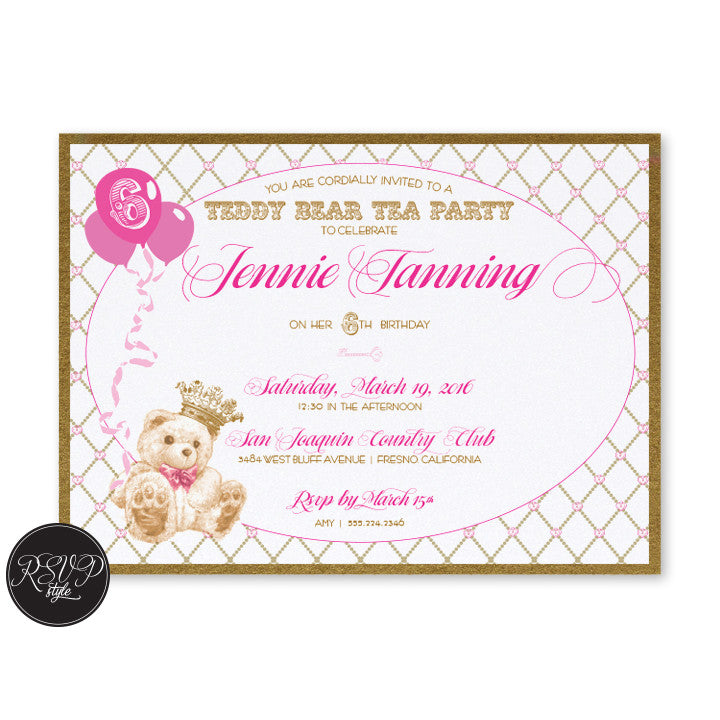 Custom Teddy Bear Tea Party Birthday Invitation – RSVP Style