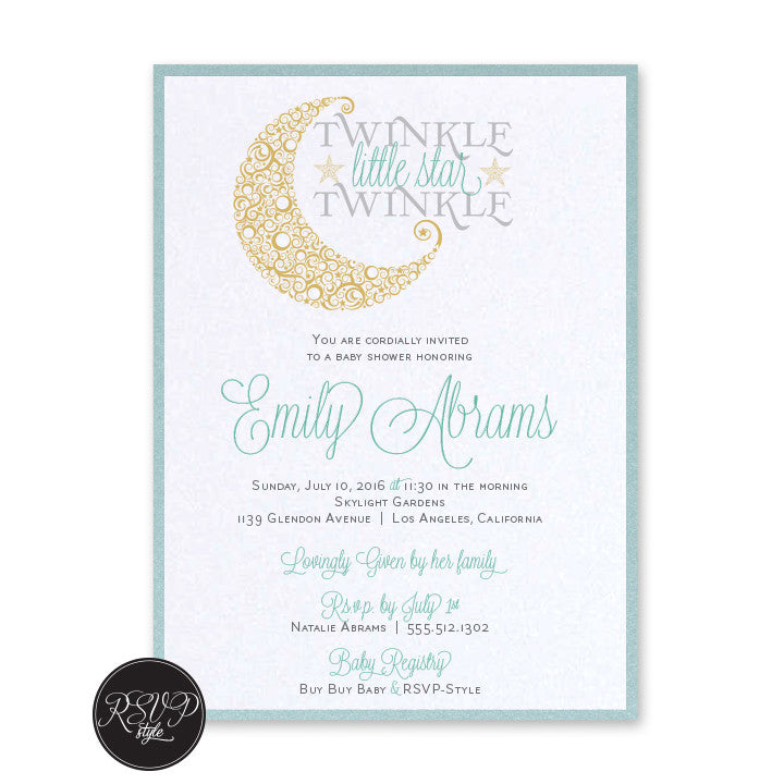 Custom Twinkle Twinkle Little Star Baby Shower Invitation RSVP Style