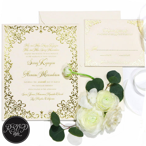 Vitoria Filigree Wedding Invitation Suite - RSVP Style