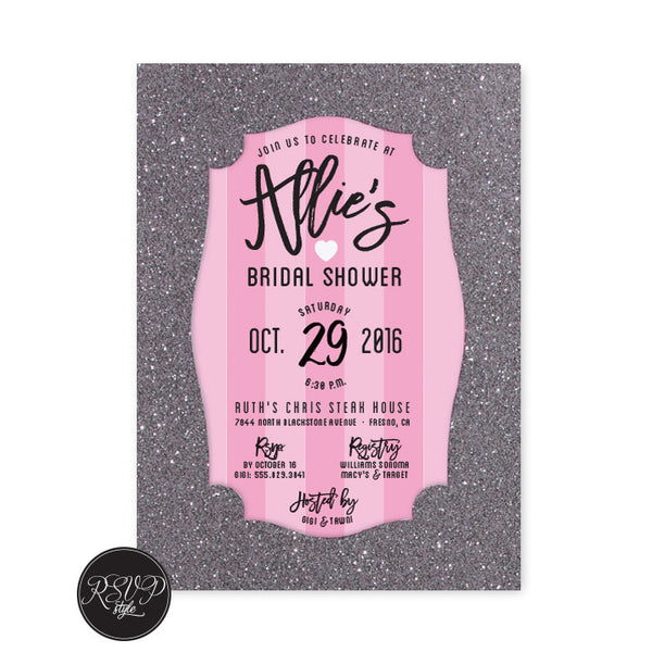 Love Pink Bridal Shower Invitation - RSVP Style