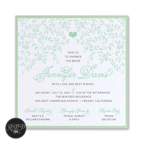 Vine Garden Bridal Shower Invitation