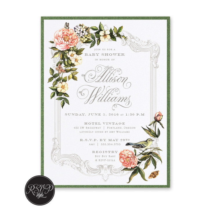 Custom secret garden baby shower invitation rsvp style filmwisefo Images