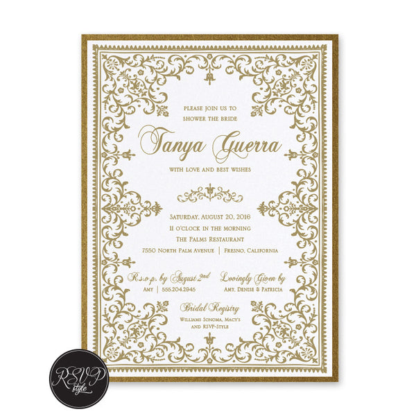 Elegant Victorian Bridal Shower Invitation